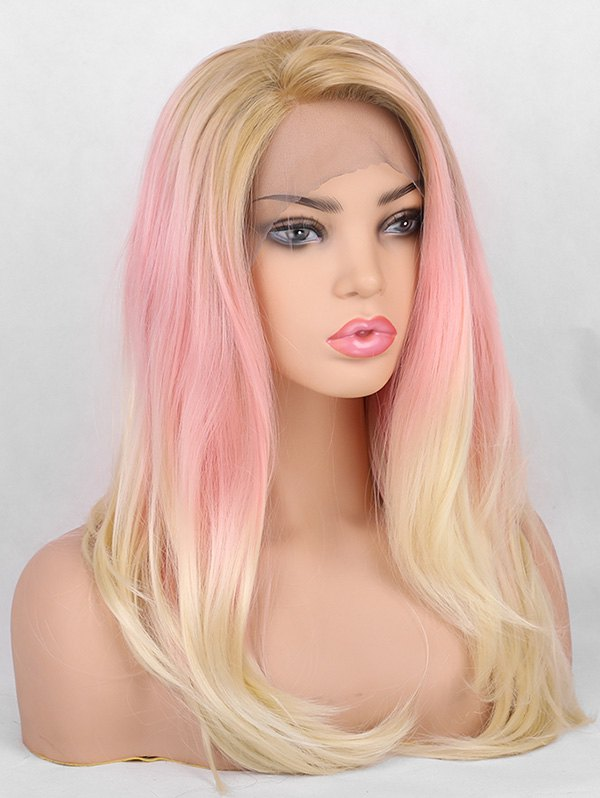 Long Side Bang Layer Colorful Straight Synthetic Lace Front Wig