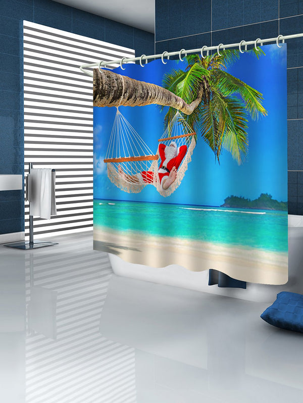 Christmas Beach Santa Bathroom Shower Curtain