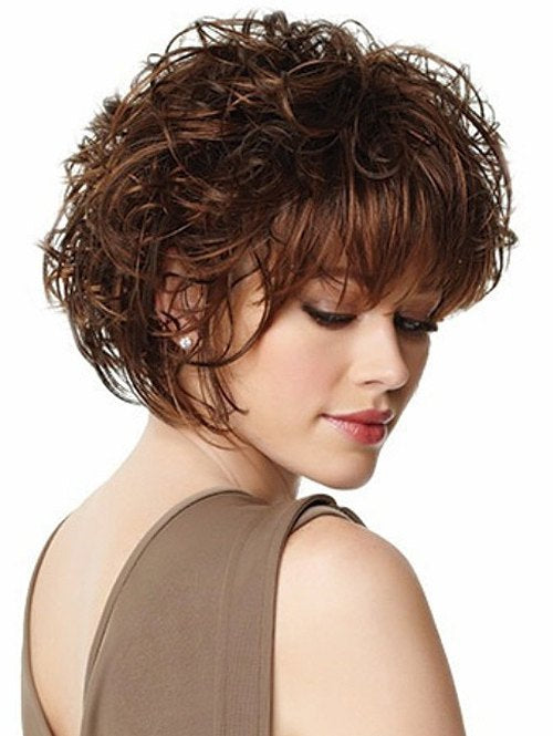 Short Neat Bang Curly Synthetic Wig