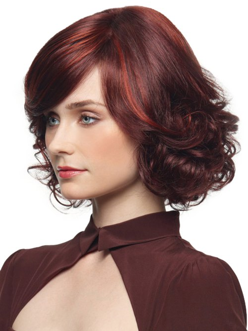 Short Side Bang Colormix Curly Synthetic Party Wig