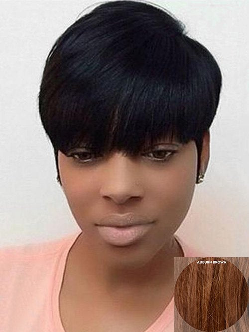 Oblique Fringe Capless Human Hair Short Straight Wig