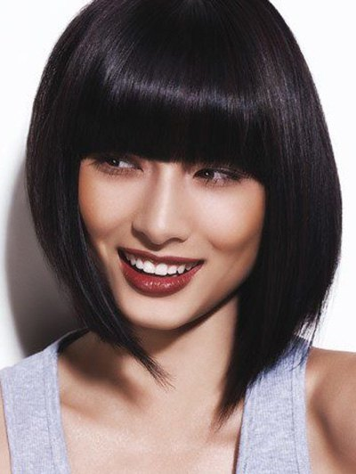Neat Bang Straight Bob Short Human Hair Wig