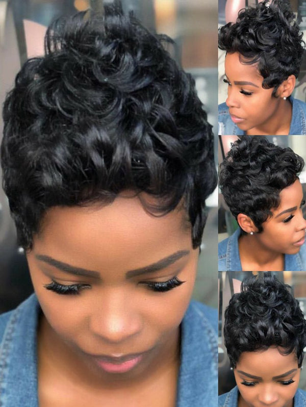 Side Bang Short Fluffy Curly Pixie Human Hair Wig