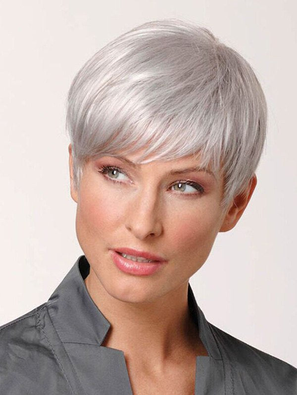 Short Inclined Fringe Straight Pixie Human Hair Wig