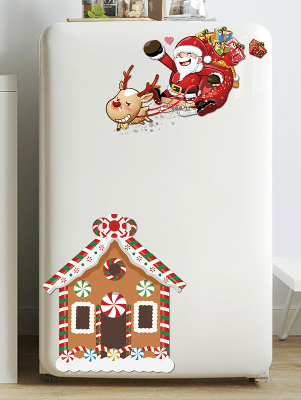 Father Christmas Deer House Removable Wall Sticker