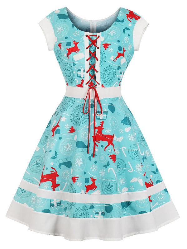 Hepburn Vintage Series Women Dress Spring And Summer Round Neck Christmas Printing Crossover Strap D