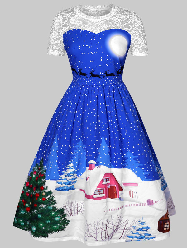 Christmas Printed Plus Size Pin Up Dress
