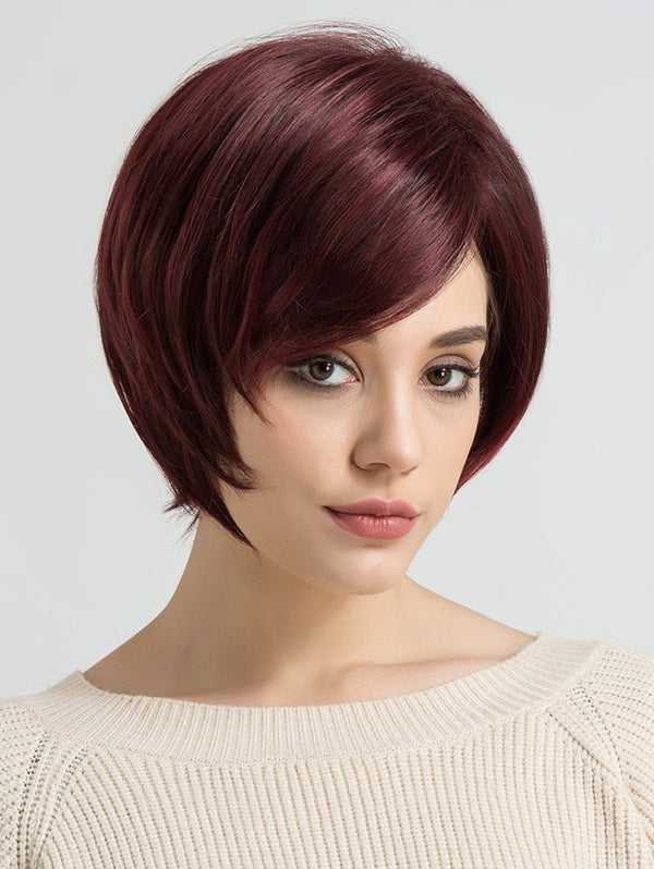 Inclined Bang Short Party Straight Synthetic Wig