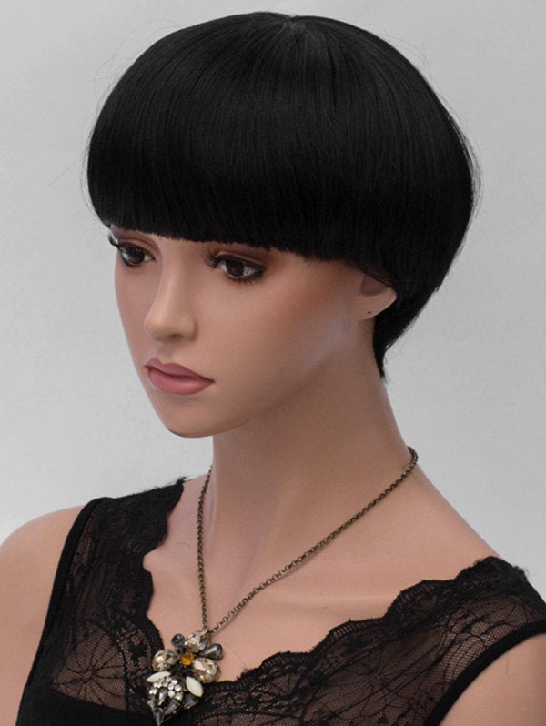 Short Full Bang Straight Mushroom Synthetic Wig