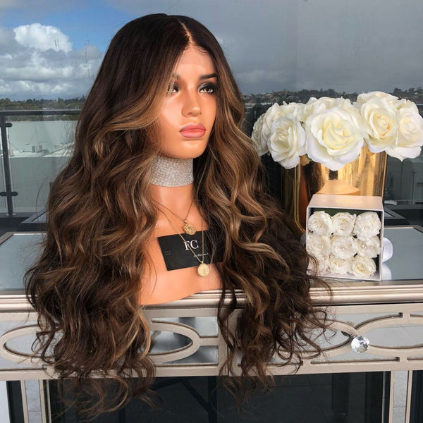 Long Wavy Colored Hair Wigs Heat Resistant Synthetic Wigs For Women
