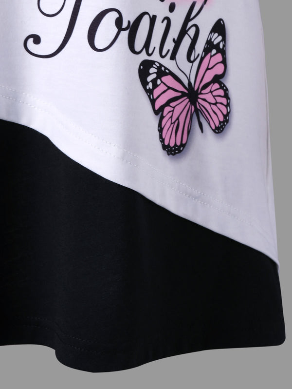 Plus Size Butterfly Pattern Cold Shoulder T-shirt