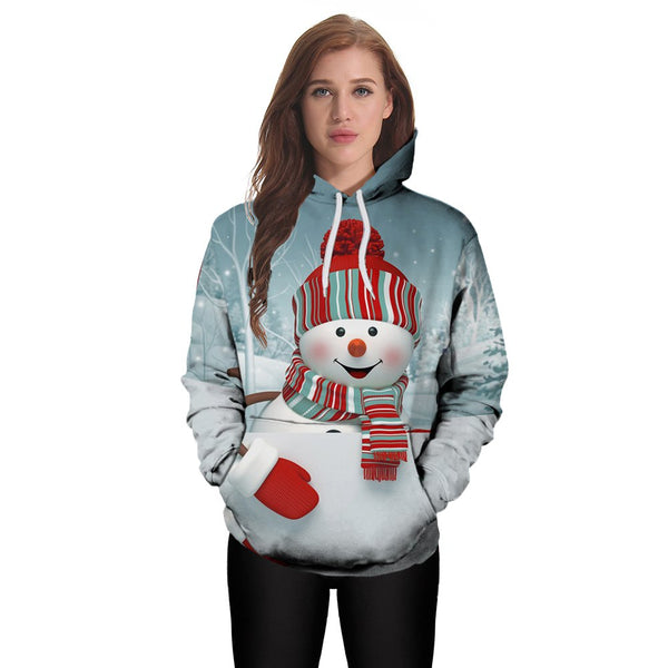 Christmas Snowman 3D Digital Printing Fashion Women's Hoodie Sweater