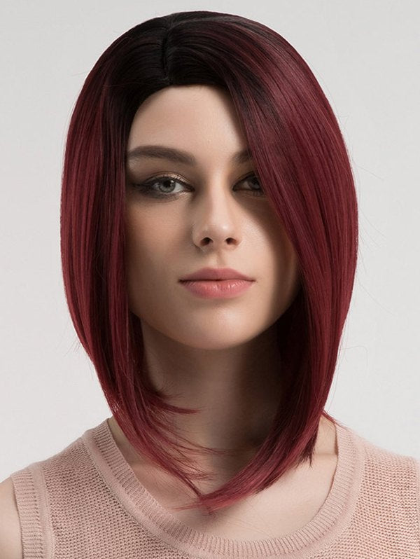 Side Parting Short Colormix Straight Synthetic Wig