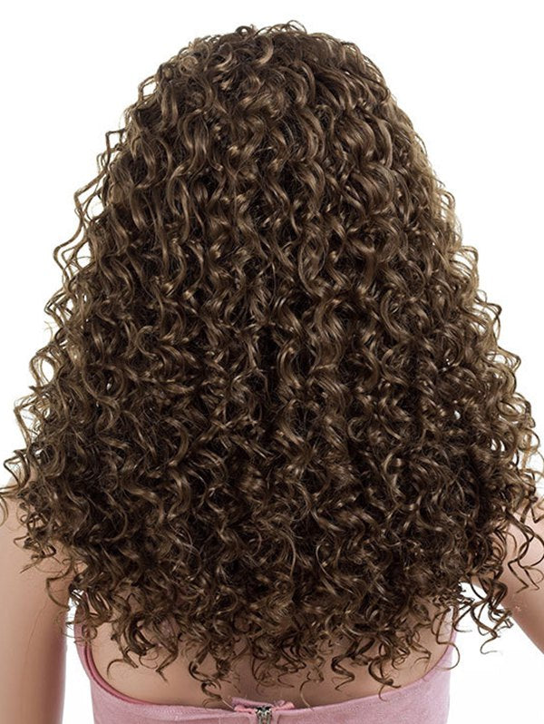 Long Inclined Bang Kinky Curly Synthetic Wig
