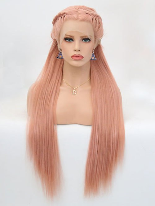 Long Middle Part Braided Straight Party Lace Front Synthetic Wig