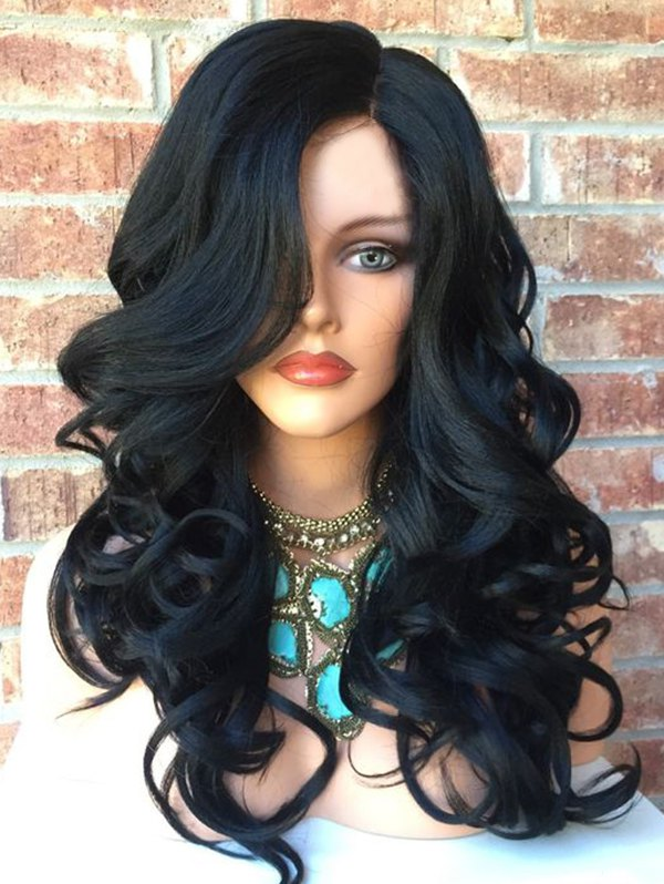 Long Side Parting Wavy Colormix Party Synthetic Wig
