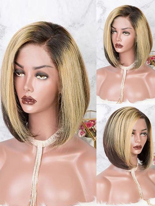 Short Capless Side Parting Colormix Straight Bob Synthetic Wig