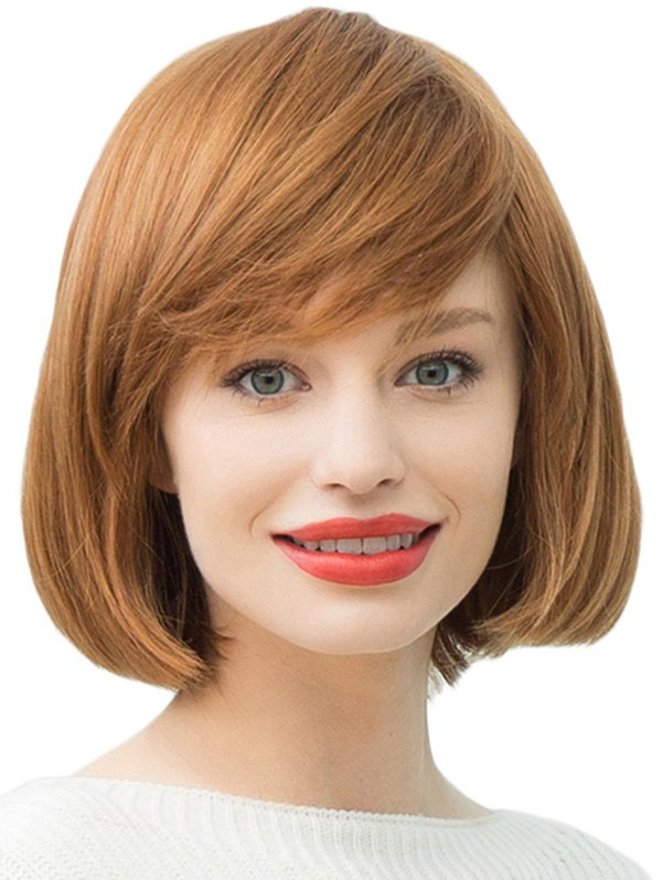 Oblique Bang Capless Short Straight Bob Synthetic Wig