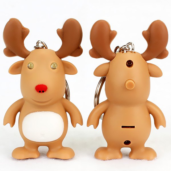 Christmas Moose Vocal LED Key Ring