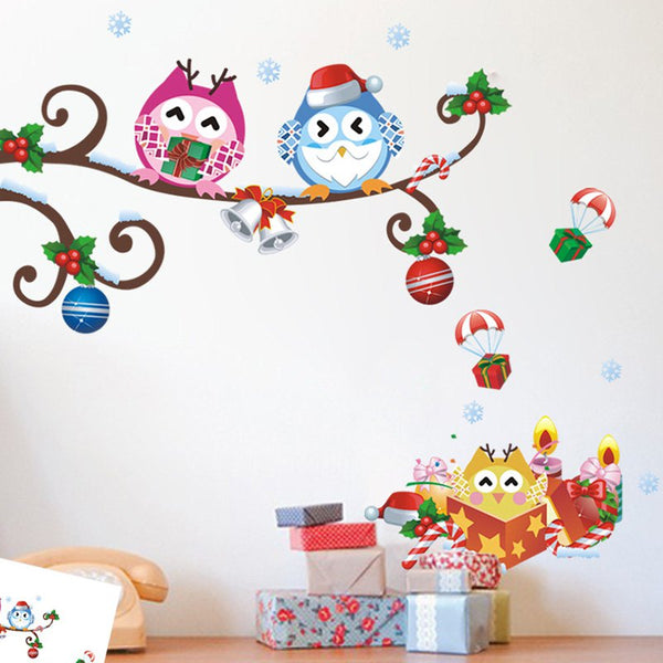Cute Owl Curved Christmas Wall Sticker