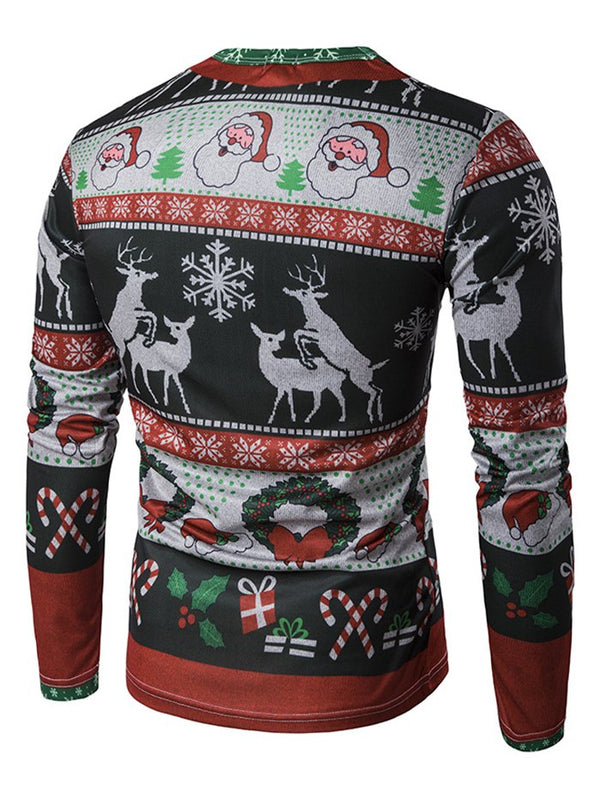 Men's T-shirt 3D Personalized Print Fashion Christmas Elk Pattern Long-sleeved