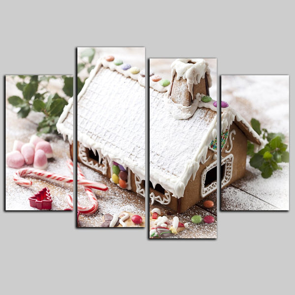 YISHIYUAN 4 Pcs HD Inkjet Paints Christmas Chocolate House Decorative Painting