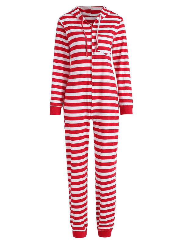 Family Christmas Stripe Hooded Jumpsuit Pajama