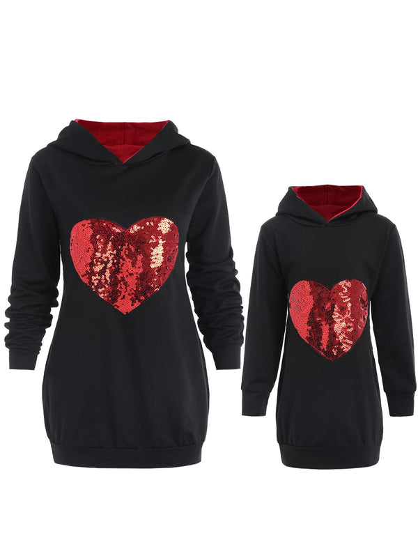 Mother and Daughter Matching Heart Sequined Hoodie