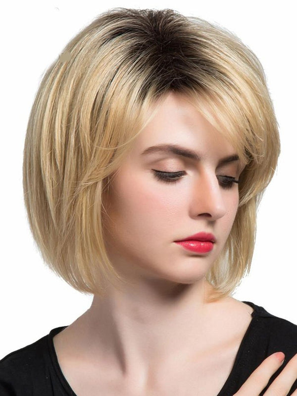 Inclined Bang Colormix Straight Capless Synthetic Wig