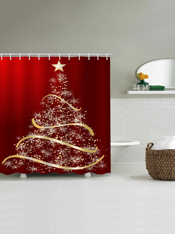 Star Christmas Tree Printed Waterproof Shower Curtain