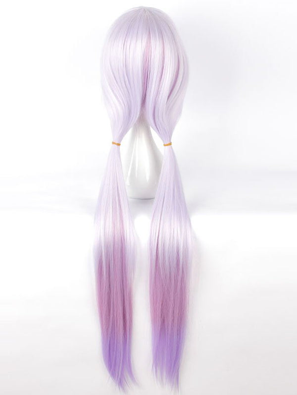 Women's Fashion Colors Highlights Purple Long Straighter Cosplay Wig