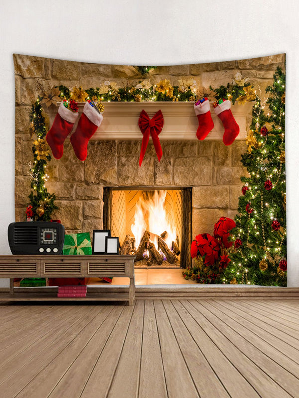 Christmas Fireplace Print Tapestry Wall Hanging Art Decoration