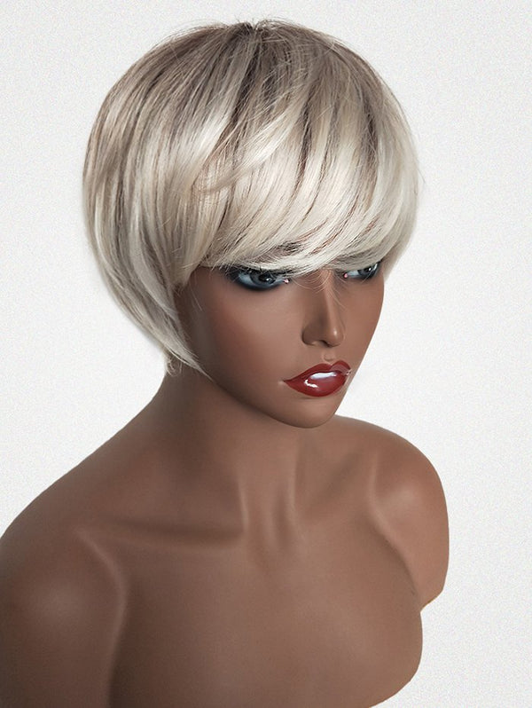 Inclined Bang Colormix Short Straight Human Hair Wig