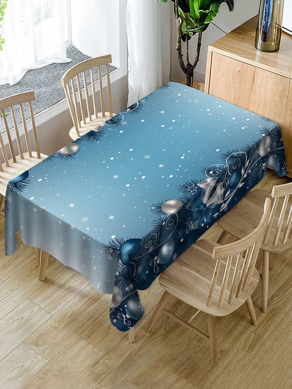 Christmas Baubles Snowflakes Printed Table Cloth