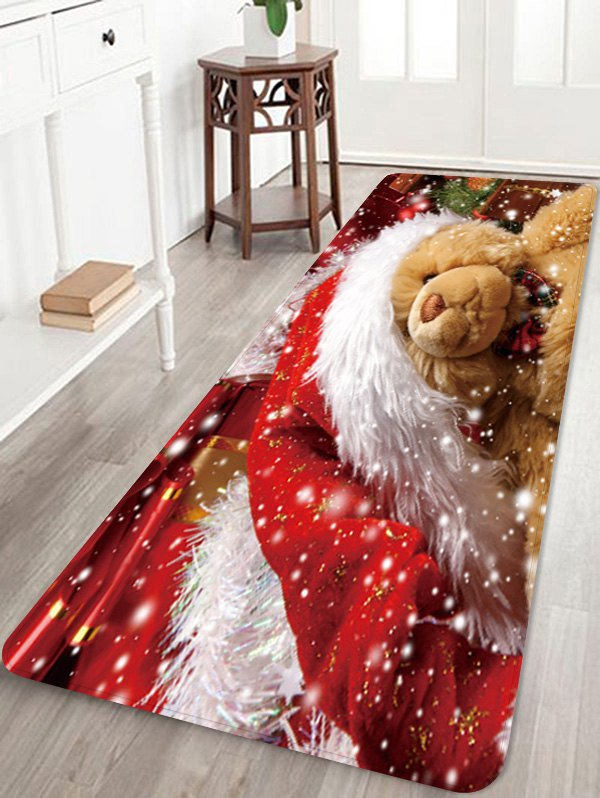 Christmas Bear Pattern Water Absorption Area Rug