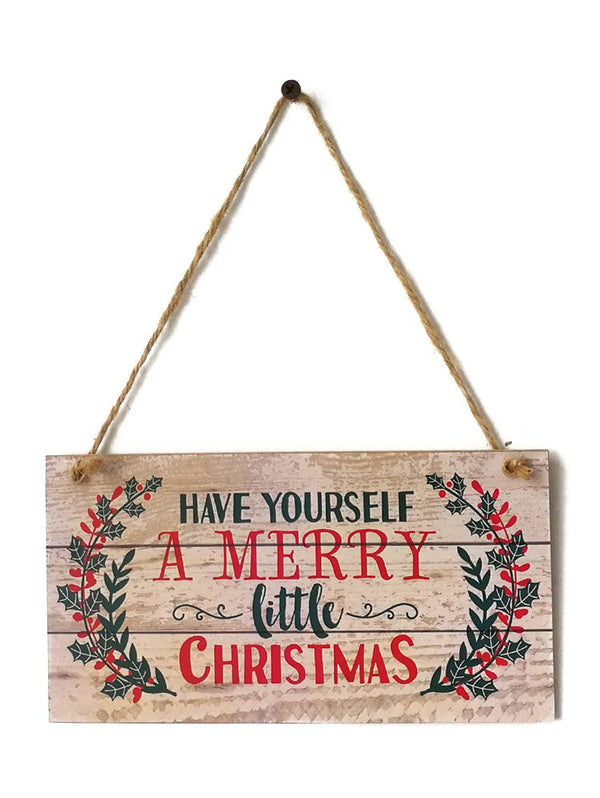 Merry Christmas Sign Wooden Hanging Decoration