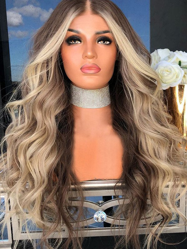 Middle Part Long Colormix Party Wavy Synthetic Wig