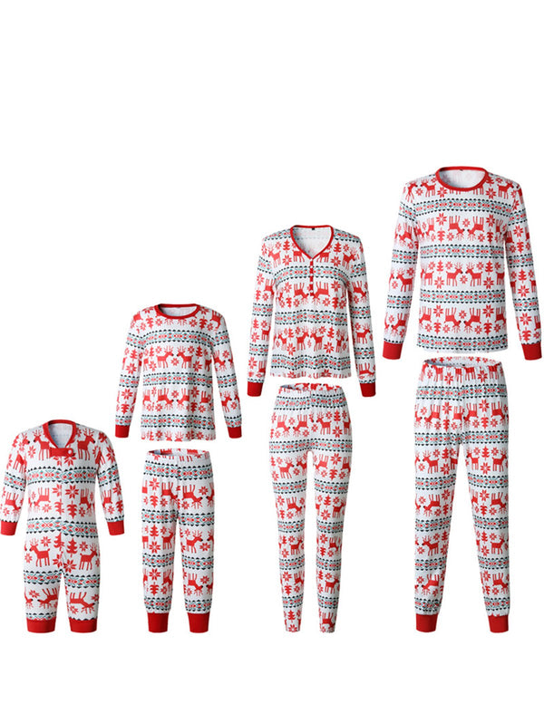 Christmas Long Sleeves Casual Flower Print Family Pajama Sets