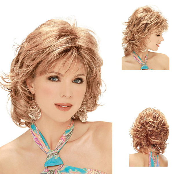 Women Have Short Curly Hair with Sloping Bangs WIG-8978