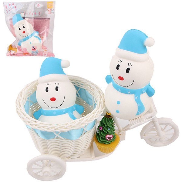 Squishy Slow Rebound Hooded Snowman PU Christmas Simulation Cake Decompression Toy