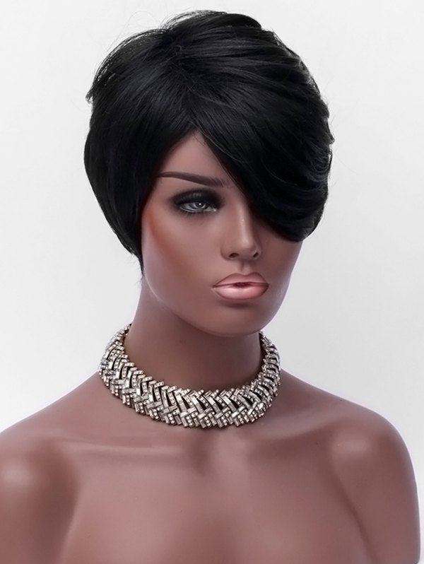 Oblique Bang Short Layer Straight Capless Synthetic Wig