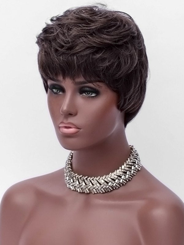 Side Bang Layer Short Straight Synthetic Wig