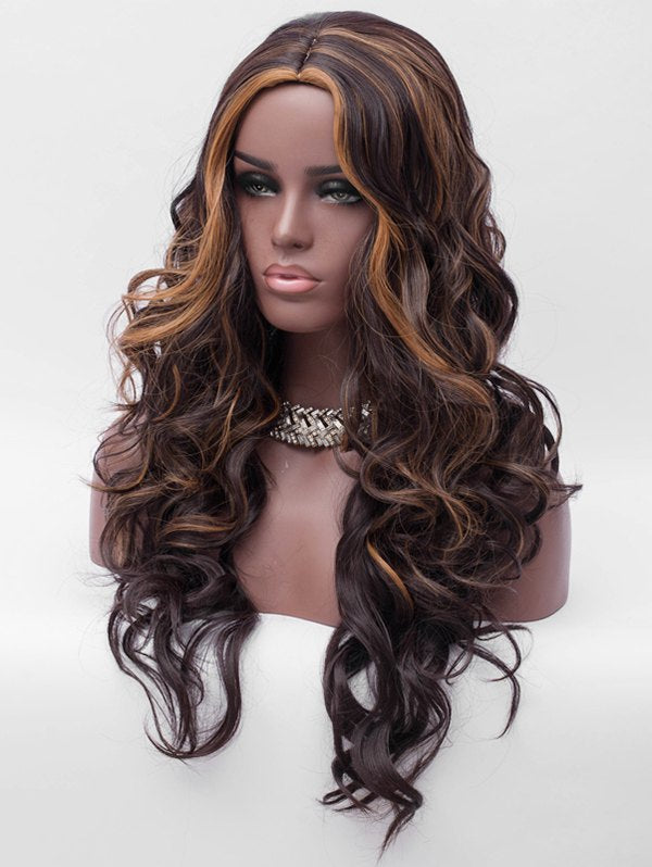 Long Center Parting Highlight Loose Wave Synthetic Wig