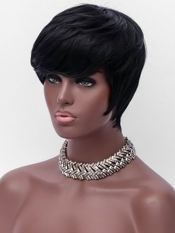 Short Side Bang Layer Straight Capless Synthetic Wig