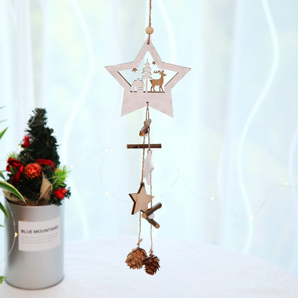 Christmas Supplies Wooden Five-pointed Star Hanging Rope Pine Cone Decoration Pendant