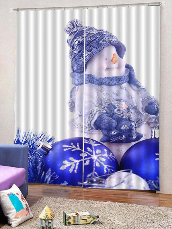 2PCS Funny Christmas Snowman Snowflake Window Curtains