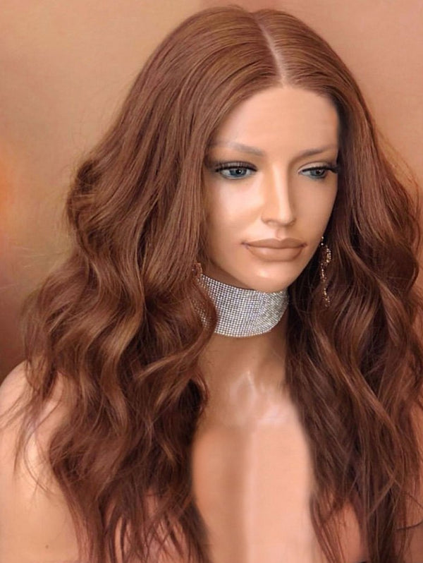 Center Parting Wavy Medium Lace Front Synthetic Wig