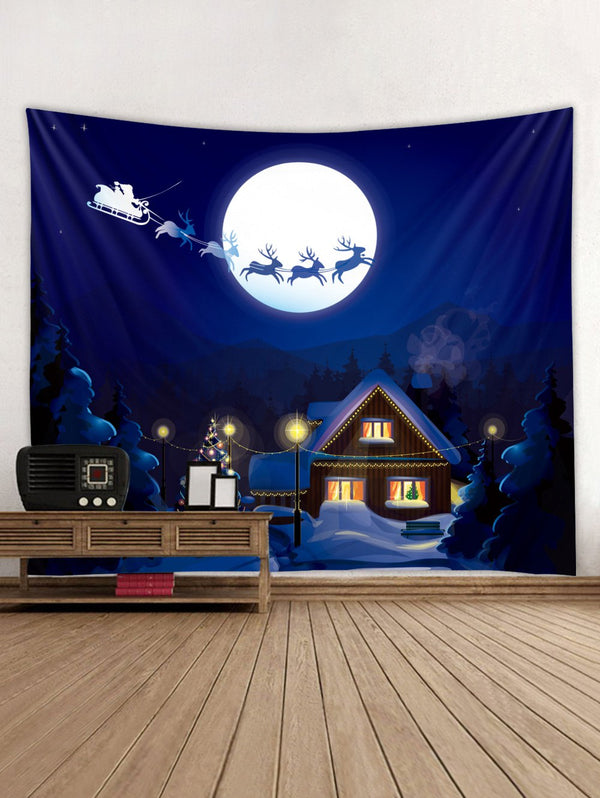 Father Christmas Deer Moon Pattern Tapestry Art Decoration