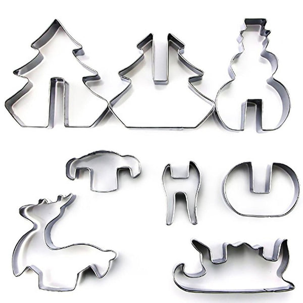 3D Christmas Scenario Cookie Biscuit Cutter Fondant Mould Stainless Steel 8PCS