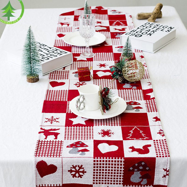 Creative Christmas Elk Print Table Flag for Desktop Decoration